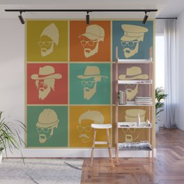 colorful Icons man in a headdress hat Wall Mural