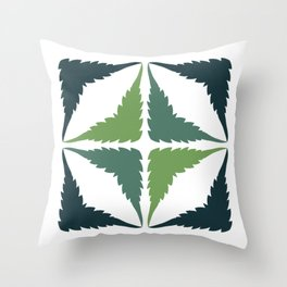 Cannabis Leaf Squares (Green Grey) Throw Pillow