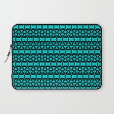 Abstract Pattern Dividers 02 in Turquoise Black Laptop Sleeve