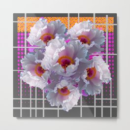 MODERN GRID WHITE TREE PEONY FLOWERS FLORAL FUCHSIA-GREY ART Metal Print