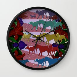 Dogs and Flowers Wall Clock