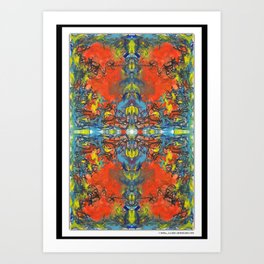 ink and oil pastels mixed media digital pattern abstract Art Print