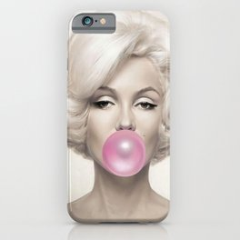 Contemporary Print - Big Pink Bubble Gum Bubble Being Blown by Mari-lyn Monroe (Colour Picture Poster Art Artwork Modern) iPhone Case