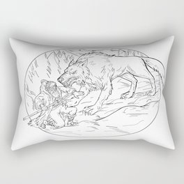 Fenrir Attacking Norse God Odin Drawing Black and White Rectangular Pillow