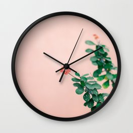 Floral photography print | Green on coral | Botanical photo art Wall Clock
