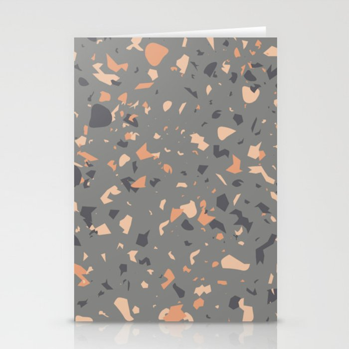 Coral and Gray Terrazzo Pattern Stationery Cards