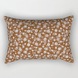 Festive Dark Toffee Brown and White Christmas Holiday Snowflakes Rectangular Pillow