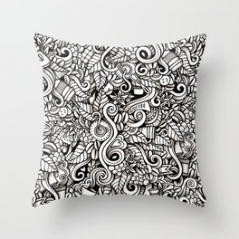coffee doodle Throw Pillow