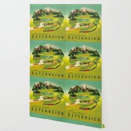 Austria Vintage Mid Century Modern Travel Poster Beautiful Green Mountain Landscape Diagram Wallpaper