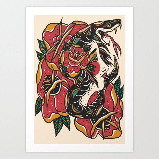 Woman with Snake Art Print