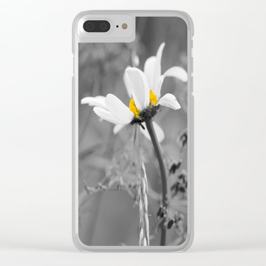 White daisy on a grey day Clear iPhone Case