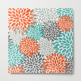 Floral Pattern, Abstract, Orange, Teal and Gray Metal Print