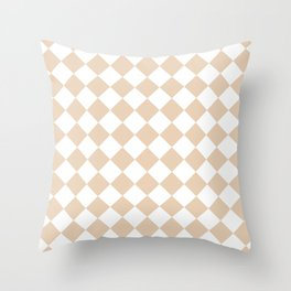 Diamonds - White and Pastel Brown Throw Pillow