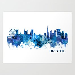 Bristol England skyline Blue Art Print
