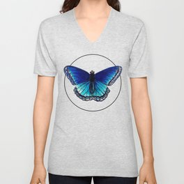 Blue Morpho Butterfly - Marker Illustration Unisex V-Neck