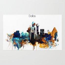 Dallas Texas watercolor print skyline Rug