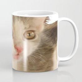 Cute Gray and White Kitten Vector Coffee Mug