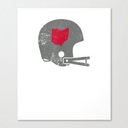Vintage Football Helmet Shirt State of Ohio Tshirt Canvas Print