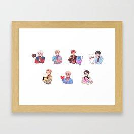 BTS with their BT21 Friends! Framed Art Print