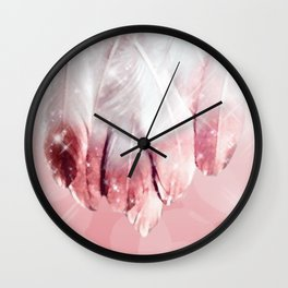 Feathers, Rose Gold Dipped Wall Clock