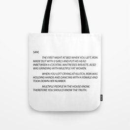 Sammi Anonymous letter to sam Tote Bag