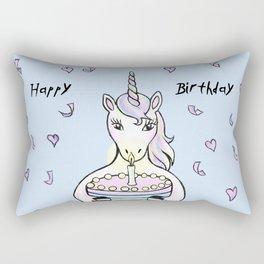 Happy Birthday Unicorn (blue) Rectangular Pillow