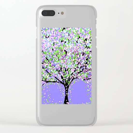 TREES OIL PAINTING PURPLE Clear iPhone Case