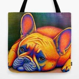 Colorful French Bulldog Rainbow Dog Pet Portrait Tote Bag