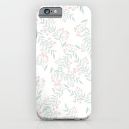 Coral Green Foliage Berries Greenery Plant  iPhone Case