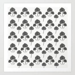 Black & White Leaves Art Print
