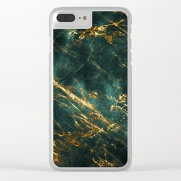Lavish Velvety Green Marble With Ornate Gold Veins Clear iPhone Case
