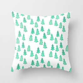 Christmas Tree Forest With One Decorated Tree Throw Pillow