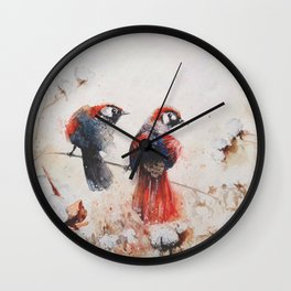 Red tailed laughingthrush birds watercolor Wall Clock