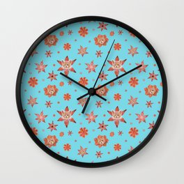 Cats on flowers with sky blue background Wall Clock