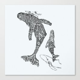 Humpback Whale & Calf Canvas Print