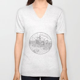 Tall Ship Turbulent Sea Serpents Black and White Drawing Unisex V-Neck