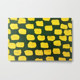 Abstract yellow brushes hand painted on green illustration Metal Print