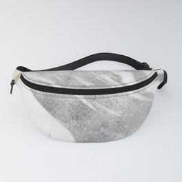 Marble - Silver Glitter on White Metallic Marble Pattern Fanny Pack