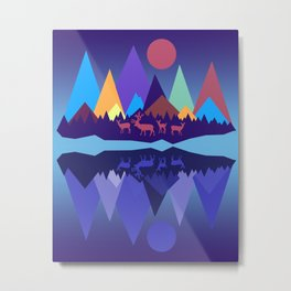 Deer in the Mountains Metal Print