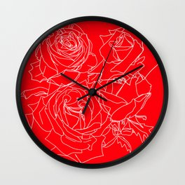 Feminine and Romantic Rose Pattern Line Work Illustration on Red Wall Clock