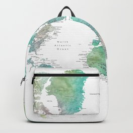 Watercolor world map in muted green and brown Backpack