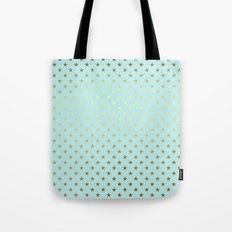 Princesslike- aqua and gold elegant star ornament pattern Tote Bag