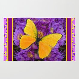 DECORATIVE LILAC-YELLOW FRAMED BUTTERFLY Rug