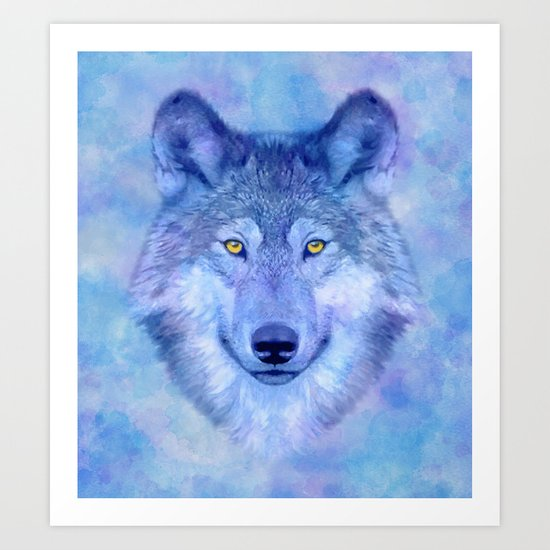 Sky blue wolf with Golden eyes Art Print
