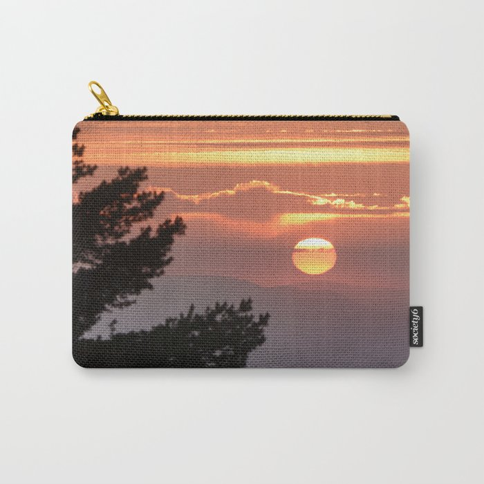 """""""Sun through the clouds and trees"""" Sunset at the mountains Carry-All Pouch"""