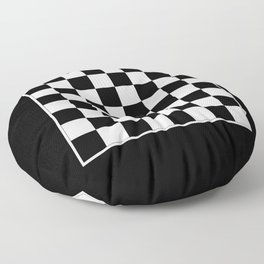Vintage Chessboard & Checkers - Black & White Floor Pillow