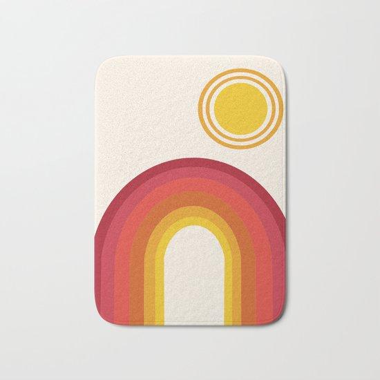 Far Out - retro throwback 70s 1970s sun planet beach 70's vibes minimal art Bath Mat