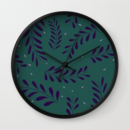 Leavy Pattern Green Wall Clock