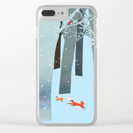 Two Foxes Running in the Woods Clear iPhone Case