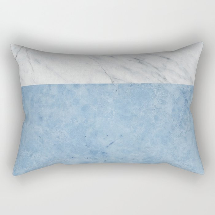 Porcelain blue and white marble Rectangular Pillow